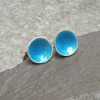 Turquoise enamel studs, Bright blue earrings, Ocean inspired