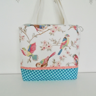 Large Cotton Toiletries Bag  with handles - Birds