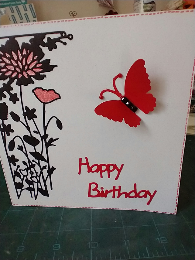 Red butterfly birthday card