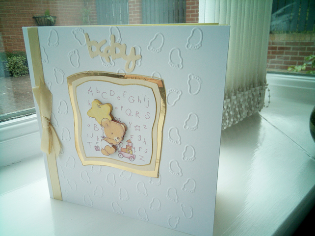 Cute teddy playing decoupage new baby card