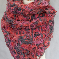 Pink wool wrap, pink and grey shawl, FREE SHIPPING