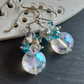 Faceted crystal sun cluster earrings