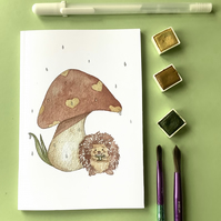 A6 mini notebook dotted paper - Hedgehog and Toadstool