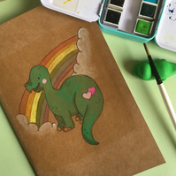 Pretty Dinosaur and Rainbow notebook sketchbook hand painted