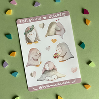 Penguin Illustrated Watercolour sticker sheet