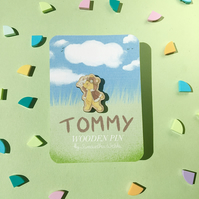 Tommy the bear. Aviator and aeroplane. Illustrated Wooden Pin badge