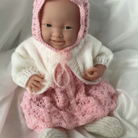 """Hand knitted clothes for 15"""" La Newborn Berenguer doll or similar"""