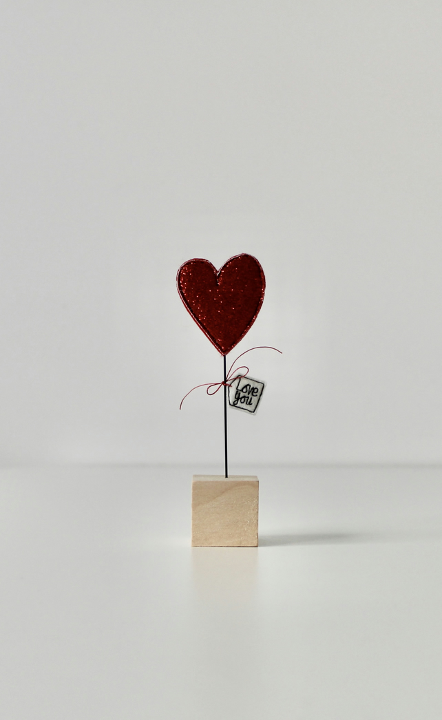 'Love You' - Heart with a Wire Stem and Wooden Block