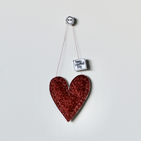 'Happy Valentine's Day' Small Glittery Heart - Hanging Decoration