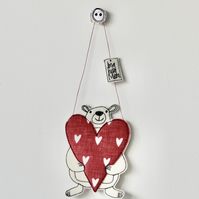 'Big Hug Mum' Mr Bear is Holding a Heart - Hanging Decoration