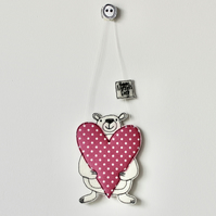 'Happy Mother's Day' Mr Bear is Holding a Heart - Hanging Decoration