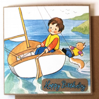 Little Boy in a Sailboat Birthday Greeting Card 1980's Vintage