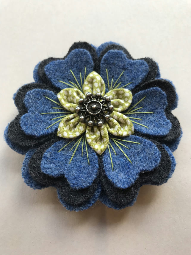 Brooch Wool Cotton Flower Recycled