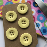 Five yellow vintage 2 cm Buttons Sewing