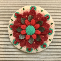 Festive Christmas Wool Felt Brooch