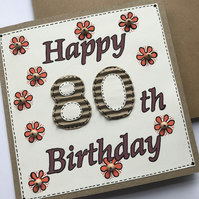80th Flower Birthday Card 14x14 cm