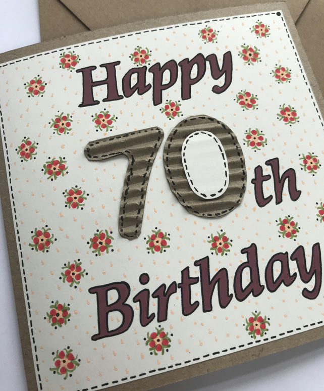 Painted 70 Birthday Card 14 x 14 cm