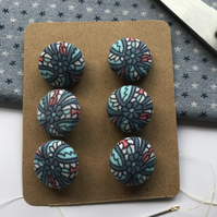 Set of 6 Textile Cotton self covered buttons