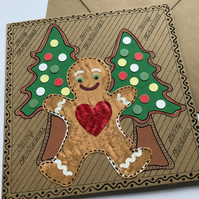 Gingerbread Man Christmas Card Mixed Media Painted