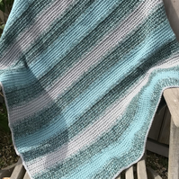 Striped Crocheted Lap Blanket in Greens and Grey