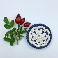 Crochet flower brooch, cream flower brooch, organic cotton brooch
