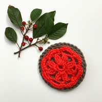 Crochet flower brooch, red flower brooch, organic cotton brooch