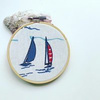 Sailing boat embroidery hoop, nautical textile art, yachts