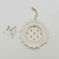 Cream wreath, crochet hoop, wall hanging