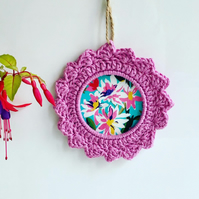Hot pink crochet wreath, crochet wall hanging