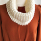 Chunky cowl, hand knitted cream cowl, knit neckwarmer
