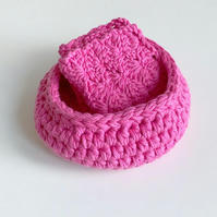 Crochet bowl, hot pink facecloth, organic cotton spa set