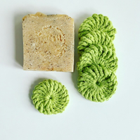 Crochet face scrubbies, pack of five, lime green organic cotton pads
