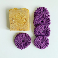 Crochet face scrubbies, pack of five, mulberry organic cotton pads