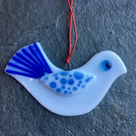 Fused Glass Christmas Peace dove Tree Decoration white, dark and light blue