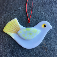 Fused Glass Christmas Peace dove Christmas Tree Decoration gold white and green