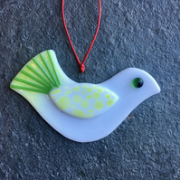 Fused Glass Christmas Peace dove Tree Decoration white lime and green