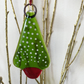 Snowstorm  Nordic Fused Glass Christmas Tree decoration - green, red, white