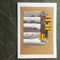 Original artwork, mixed media collage, one of a kind art 10cm x 15cm