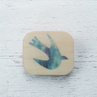 Wooden Bird brooch, Blue Bird Brooch, Bird Badge, Bird Pin