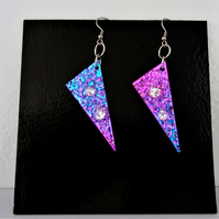 Dichroic Glass Earrings - PinkPurpleBlue With Silver Highlights