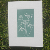 Cow Parsley, original lino print