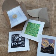 Tiny package of spring, 3 original linocut prints in handmade envelope