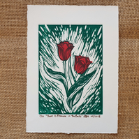 There is Promise in the Bulb, original linocut print