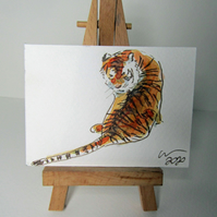 ACEO Art Tiger Observe Original Watercolour & Ink Painting OOAK