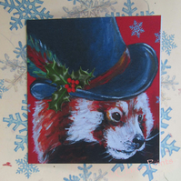 Christmas Steampunk Red Panda Art Greeting Card From Original Painting