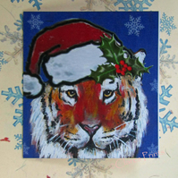 Christmas Tiger Art Greeting Card From my Original Painting