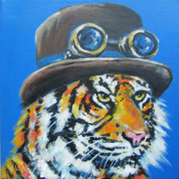 Steampunk Tiger Art Original Acrylic Painting on Canvas OOAK Retro