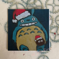 Christmas Totoro Art Greeting Card From my Original Painting