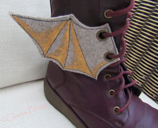 Steampunk Fabric Boot Wings Bat Wings Grey Gold