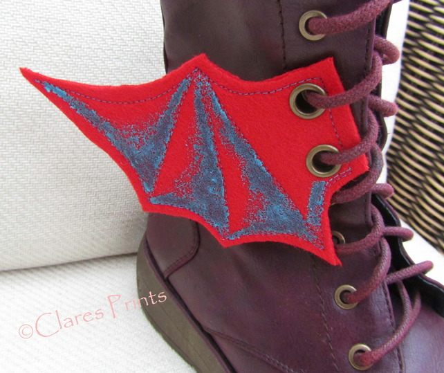 Steampunk Fabric Boot Wings Bat Wings Red Blue